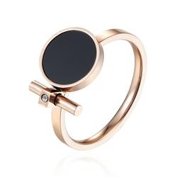Женское кольцо с эмалировкой и цирконием, из нержавеющей стали, розовое золото