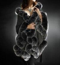 Sjaal-châle de marque de luxe   Écharpe femme, automne hiver avec fourrure véritable, luxe merk cadeau du nouvel an cachemire cape en fourrure de renard, garniture F1414