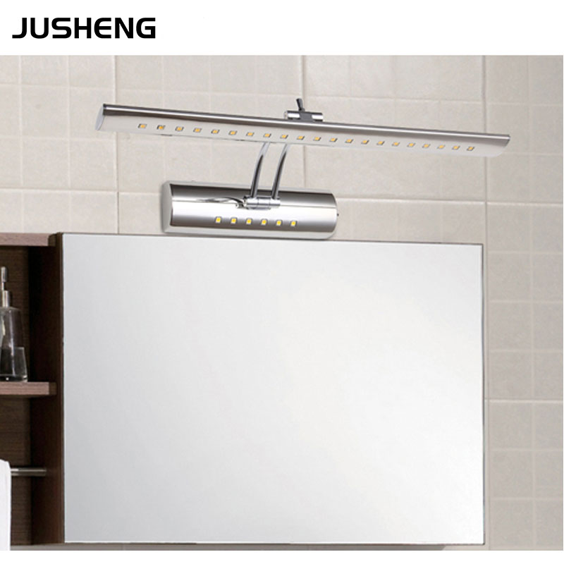 JUSHENG High Quality Bathroom Wall Lights 9W stainless steel LED Mirror Lamps 70cm long with Swing Arm Picture Lighting Fixture