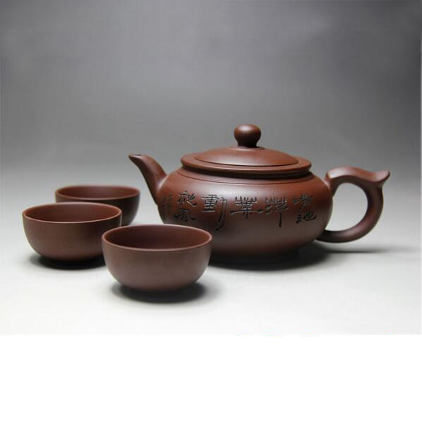 Yixing-إبريق شاي سيراميك مصنوع يدويًا من البورسلين ، مجموعة أكواب من الطين الأرجواني ، هدية احتفالية 380 مللي ، زيشا كونغ فو ، 3 أكواب 30 مللي