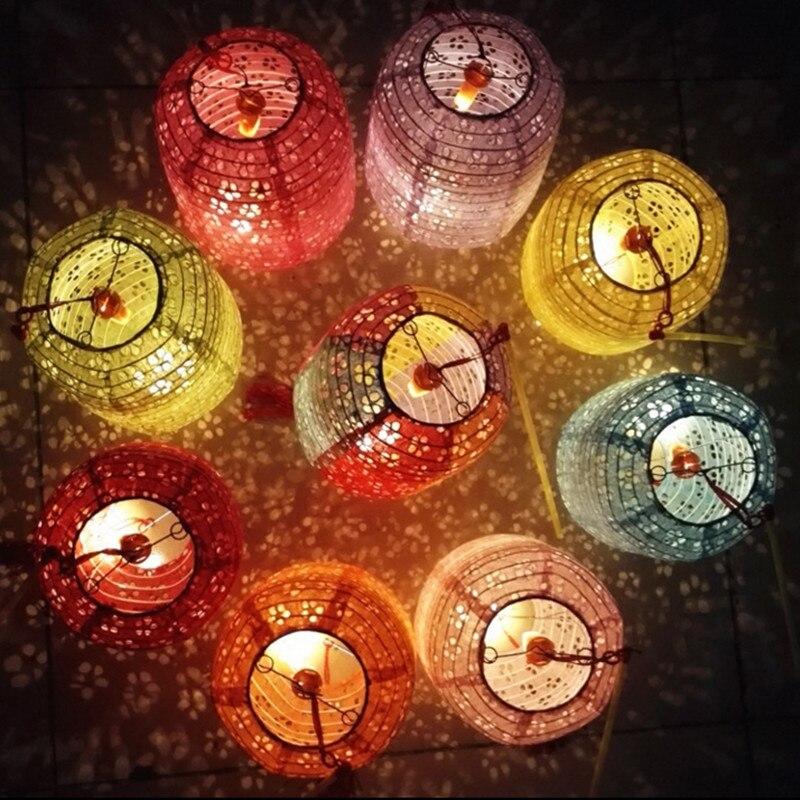 10 linternas de papel cilíndricas portátiles luminosas faroles huecos con luz led Día de los niños fiesta de cumpleaños diy lampion