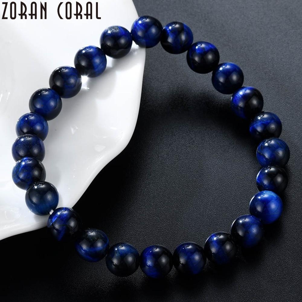 Alta calidad azul oscuro Ojo de Tigre piedra cuentas equilibrio curación Buda Pulsera con cuentas hombres y mujeres pulseras regalos Pulsera hombres