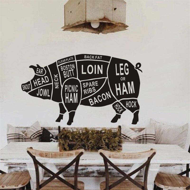 Pegatinas de pared de cerdo de Animal negro para cocina, decoración de restaurante, calcomanías Retro, pintura de pared, guía de carnicero, parte del cuerpo, Mural
