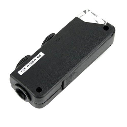 Lupa de bolsillo para microscopio LED con Zoom de 60x a 100x portátil THGS