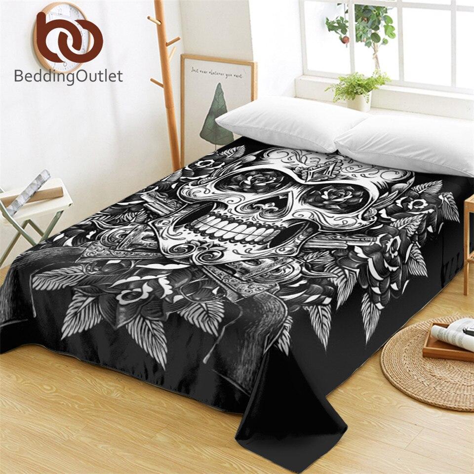 Dingdingoutlet lençol de cama floral, caveira, flores, vintage, chapa lisa, macia, para cama, crânio gótico