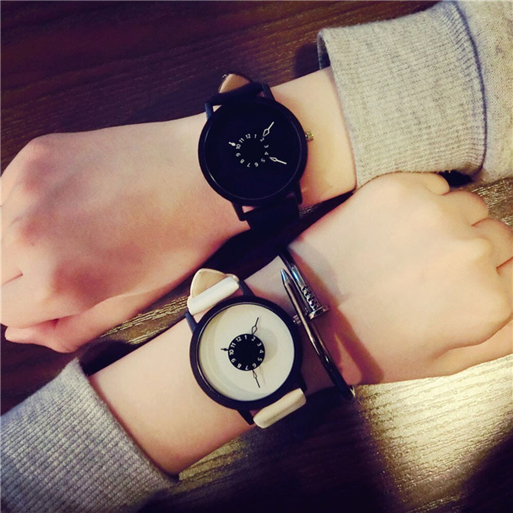 Wholesale Fashion Lovers Men Women Leather Band Quartz Analog Wrist Watch