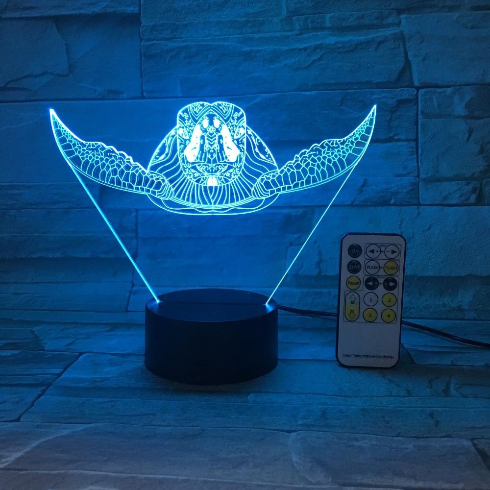 Toque remoto Control tortuga marina 3D LED lámpara 5V USB Luz 7 cambio de colores Lava lámpara novedad regalo