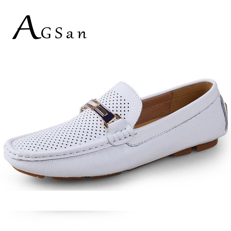 AGSan-حذاء موكاسين من الجلد الطبيعي للرجال ، حذاء صيفي مسامي ، حذاء موكاسين إيطالي فاخر ، أبيض ، أسود ، للقيادة
