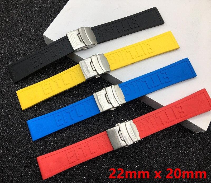 Schwarz Gelb Rot Blau Silikon Gummi Uhr band 22mm 24mm Armband Armband Für navitimer/avenger/Breitling strap logo auf