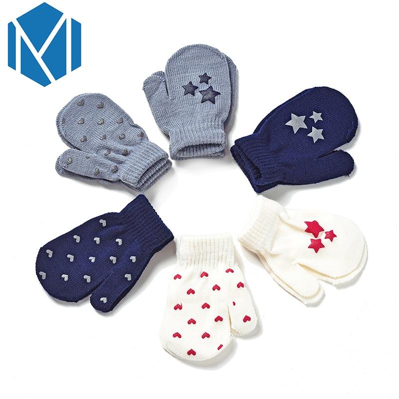 Guantes cálidos de invierno para niños, guantes con dedos completos y diseño de estrella y corazón, guantes suaves y gruesos para niños y niñas