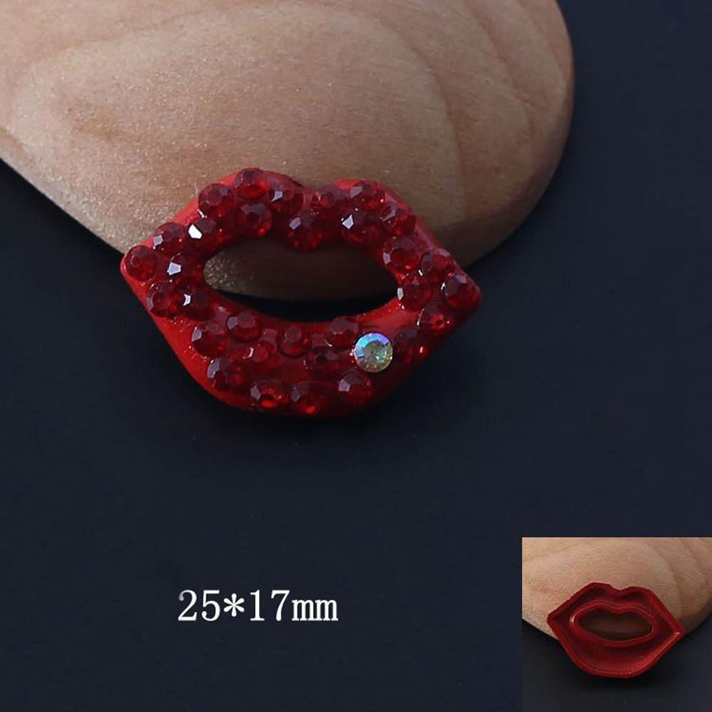 Купить с кэшбэком 2Pcs/Lot Sexy Red Lips Rhinestone Buttons Buckles Embellishment Snap Button DIY Hair Accessories Wedding Jewelry Decoration