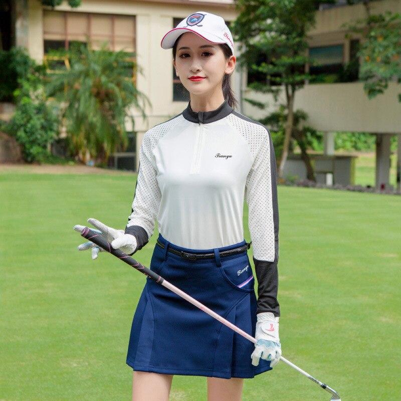 Camisas de Golf transpirables de manga larga de secado rápido para mujer, camisas de entrenamiento para señoras, ropa con media cremallera, tallas S-XXL D0694
