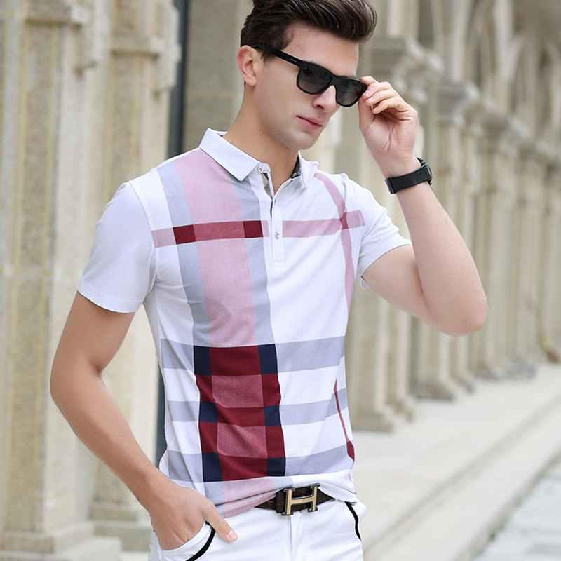 Polos de manga corta a cuadros para hombre de verano 2019, de algodón fresco, ajustado, informal, de negocios, clásico, de alta calidad, de talla grande