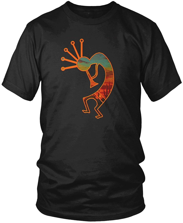 Camiseta Kokopelli de algodón con cuello redondo y manga corta con diseño moderno para hombre, estilo Nativo Americano, desierto, talla nueva S-3XL