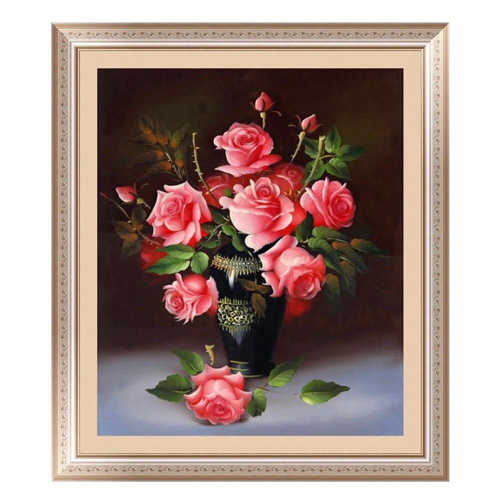 Bordado de diamantes 5D DIY pintura de diamante Rosa flor decoración del hogar cuadro de mosaico bordado de diamantes redondos