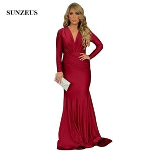 Mermaid V-neck Long Sleeves Evening Dresses Wine Red Jersey Long Red Carpet Dress Simple Elegant Women Formal Party Gowns