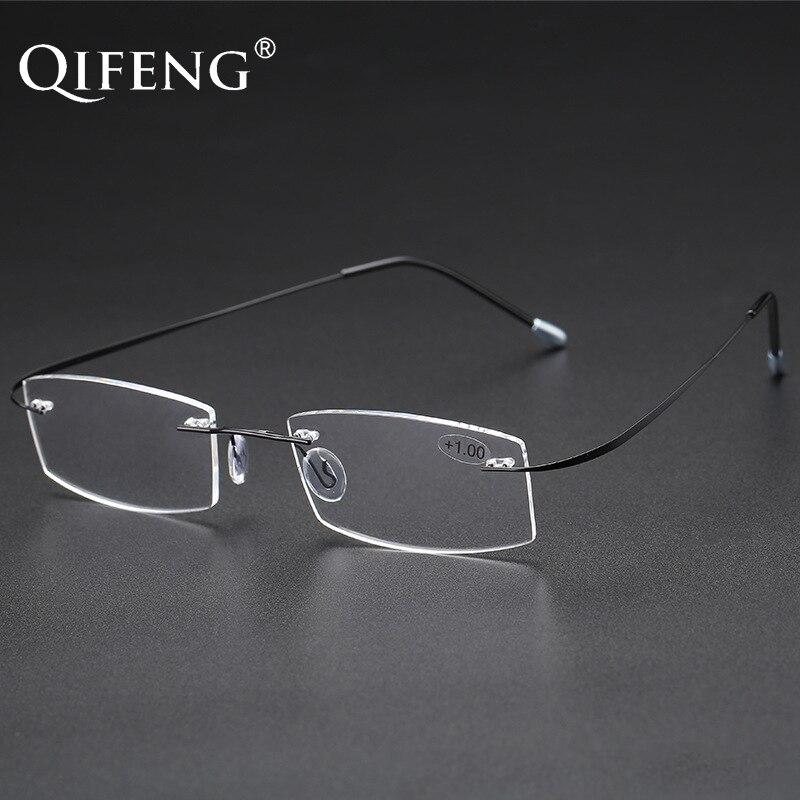 Gafas de lectura QIFENG para hombre y mujer, gafas Unisex ultrafinas sin montura con dioptrías y presbicia + 1,0 + 1,5 + 2,0 + 2,5 + 3,0 + 3,5 + 4,00 QF227