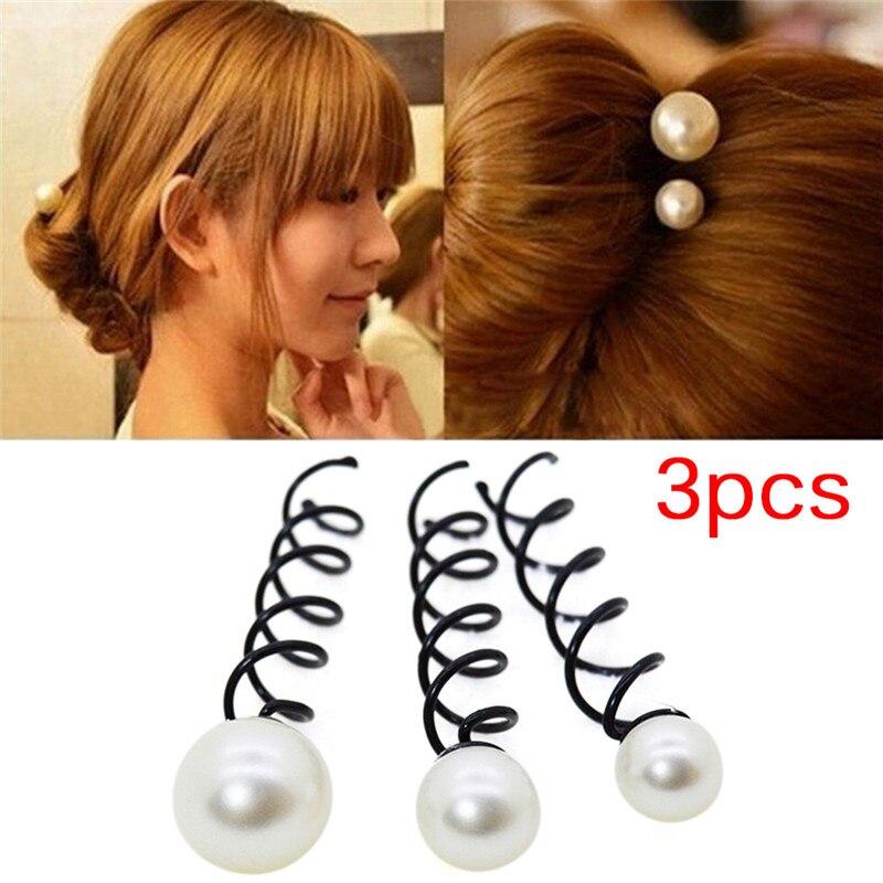 3 unids/set de perlas de imitación espiral tornillo de giro horquillas pinzas para el cabello para mujer niñas Twist pasador accesorio
