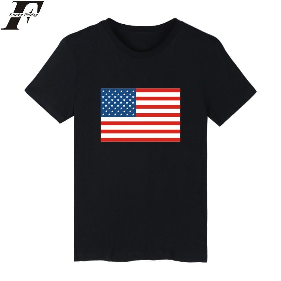 LUCKYFRIDAYF la bandera de Estados Unidos de manga corta Camiseta blanca hombres Rusia camiseta hombres algodón Brasil moda camiseta marca de hombres