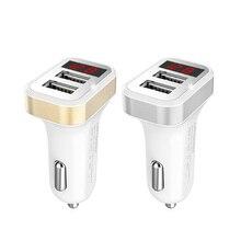 Auto Ladegerät Digitale Led-anzeige 2,1 EIN Dual USB Port für iPhone iPad Samsung Xiaomi LG Huawei Telefon Lade Adapter