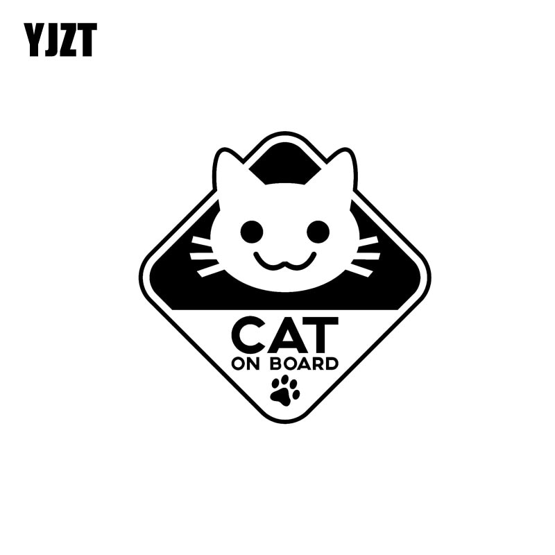 Pegatina de vinilo divertido YJZT 16CM * 16CM pegatina de coche gato a bordo negro/plata C10-00783