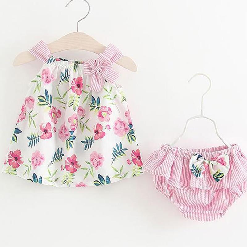 Mameluco de verano para niña recién nacida, conjunto de 2 uds. De trajes sin mangas, conjunto de verano Floral de princesa infantil, ropa Unisex para bebé, trajes de mono