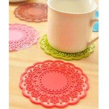 Tasse à café en dentelle antidérapante   Tapis de boutons en Silicone belle isolation mignonne tasse à café Place en verre, porte-boisson, cuisine KC1066 2 pièces