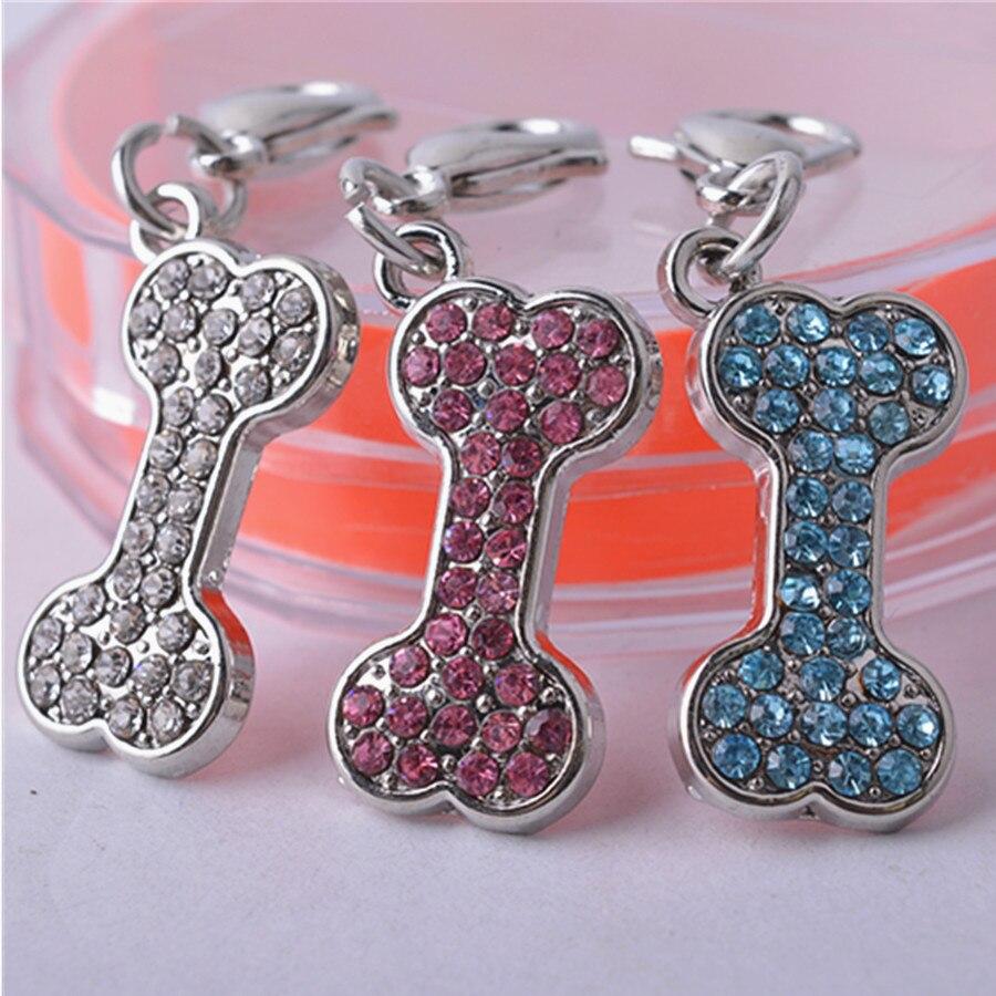 Collar de diamantes de imitación joyería accesorios en forma de hueso Collar COLGANTE encanto Pet etiqueta productos para perros