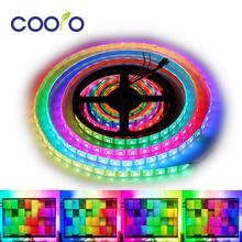 WS2812B LED bande individuellement adressable RGB Smart Pixel bande 1 m/2 m/3 m WS2812 IC bande LED numérique étanche 5V 30/60 LED s