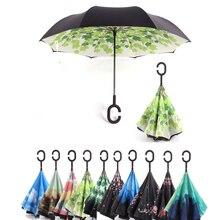 Складной Ветрозащитный Зонт C ручкой, мужские и женские зонты от солнца и дождя, двухслойные антиуф-зонты с подставкой для автомобиля