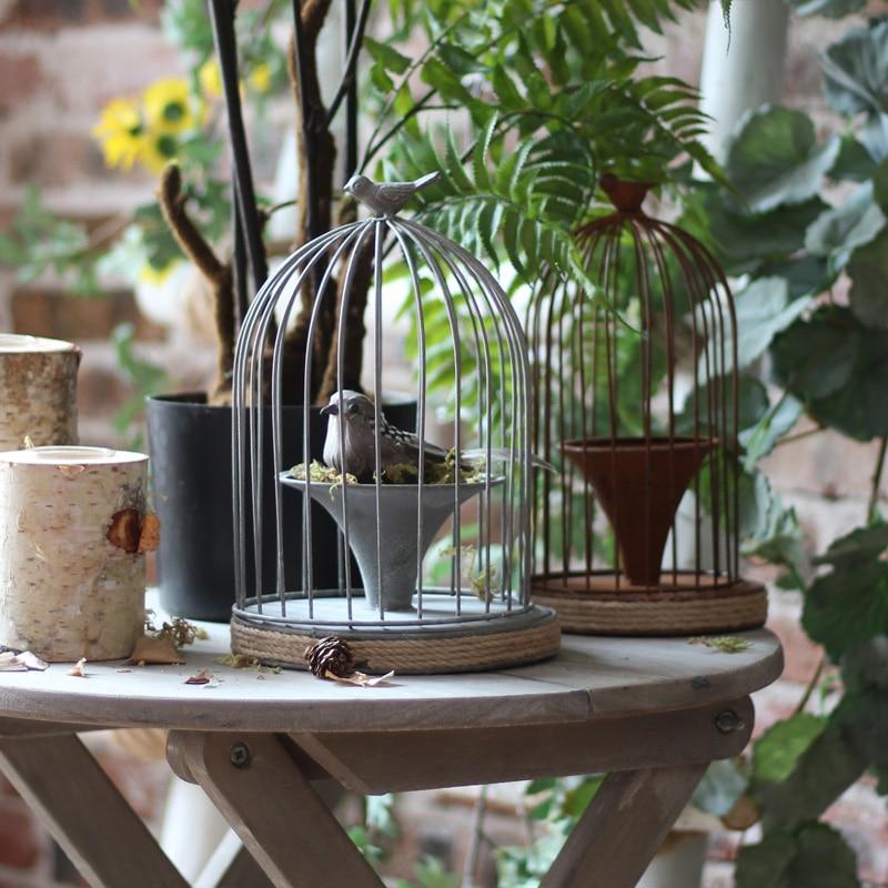 Retro Iron Bird Cage Flower Ware, birdcage design antique vintage hand painted metal flower pot,Garden Courtyard Outdoor Decor