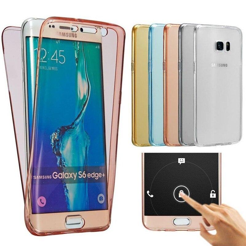 Doble de silicona caso de teléfono para Samsung Galaxy S7 borde S8 S9 S10 más J3 J5 J7 A5 2017 A6 A8 A9 J4 J6 2018 A10 A20 A40 A50 A70