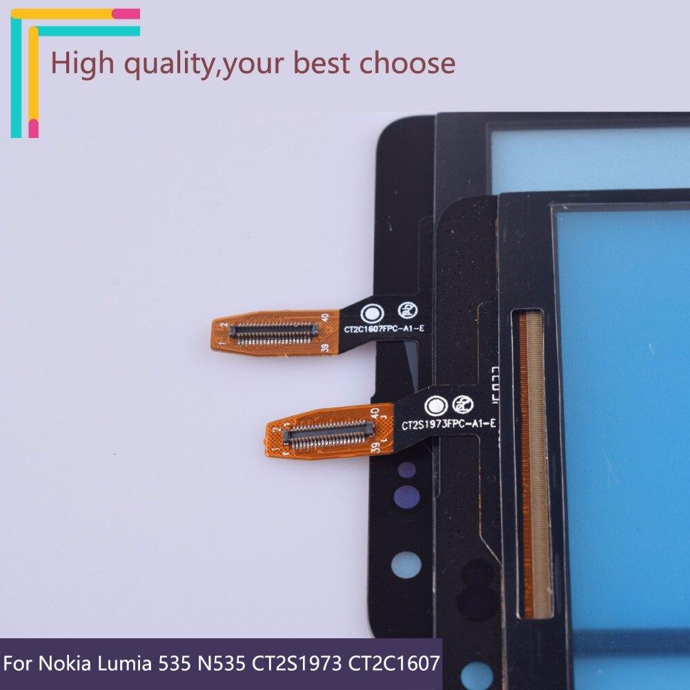 10 unids/lote para Nokia Microsoft Lumia 535 N535 CT2S1973 CT2C1607 pantalla táctil del Sensor del Panel digitalizador de vidrio frontal de la pantalla táctil