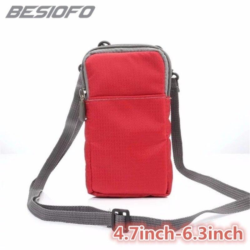 Funda de teléfono deportiva para iPhone 5 6 S 7 8 Plus X iPhone XR XS Max doble bolsillos bolsa cubierta gancho lazo con bolsa de cinturón funda Coque