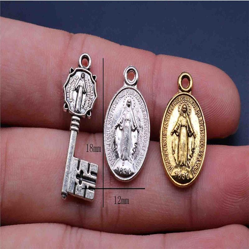 100 unidades/Mini medalla de Santo azul antigua dorada católica regalo religioso Virgen María Sagrado Corazón maravilloso MEDALLA DE santo para Braclee
