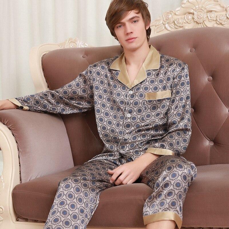 Мужчины% 27 натуральный шелк пижамы 2020 новинка мода принты 100% 25 шелк одежда для сна мужской длинный рукав пижама брюки из двух частей комплекты 039