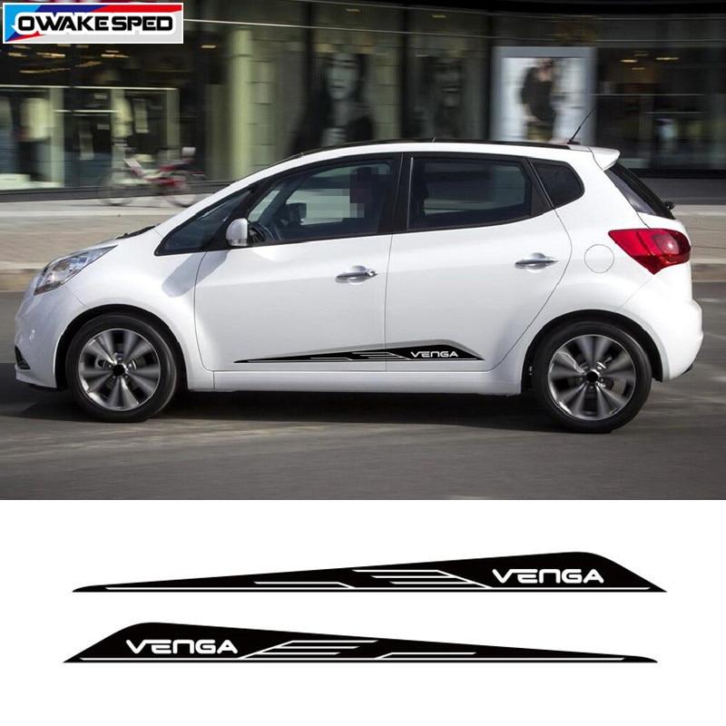 Para KIA Venga, falda lateral para puerta de coche, pegatina decorativa, estilo de carreras deporte, calcomanías personalizadas, accesorios de modificación de coche