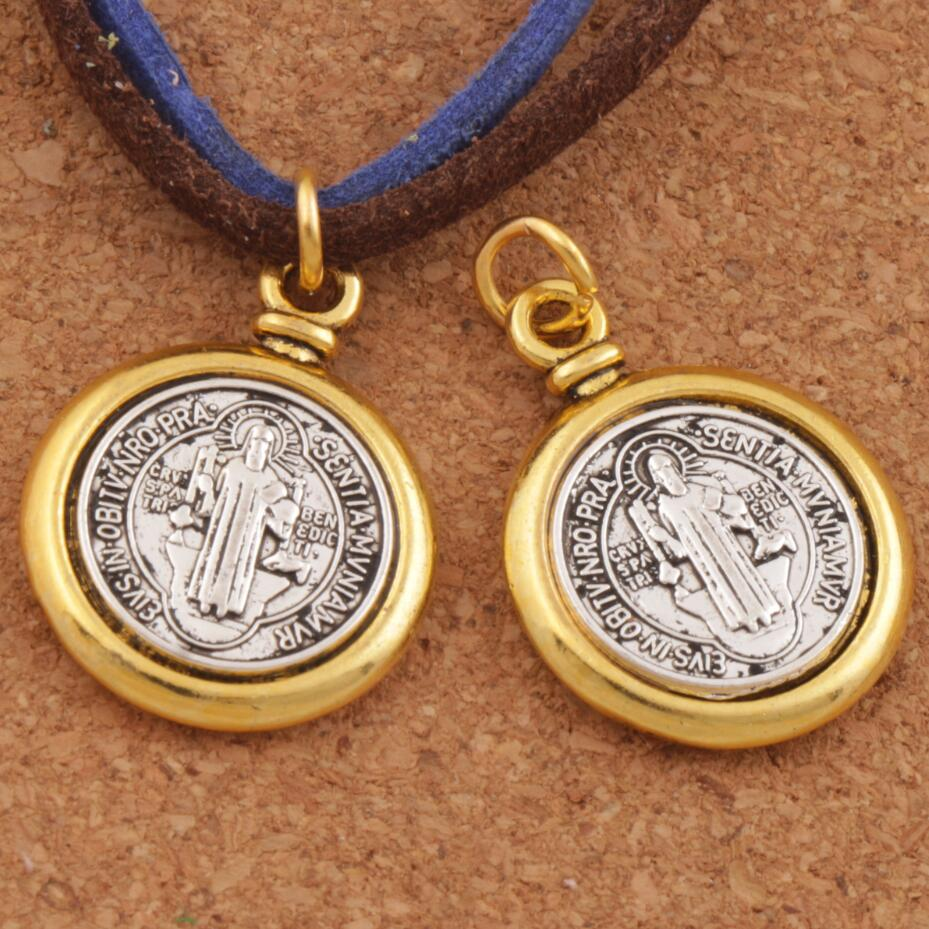 6PCS 2-Ton Saint St Benedict Medaille Spacer Kreuz Charme Perlen 24,7x18,9mm Anhänger Handgemachten Schmuck DIY T1693