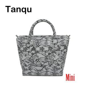 TANQU Mini Waterproof Faux PU Leather Floral Insert Inner Pocket Plus Handle Combination for Mini Obag O Bag Women Handbag