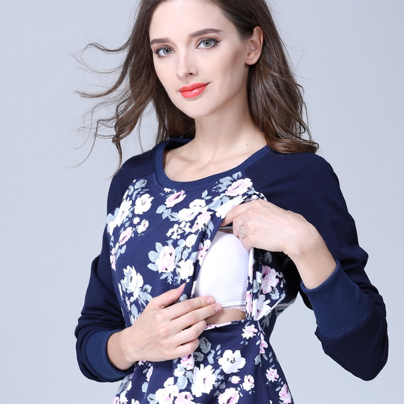 Emotion Moms Long Sleeve winter Maternity Clothes Cotton Nursing Top Breastfeeding tops for Pregnant Women maternity T-shirt New enlarge