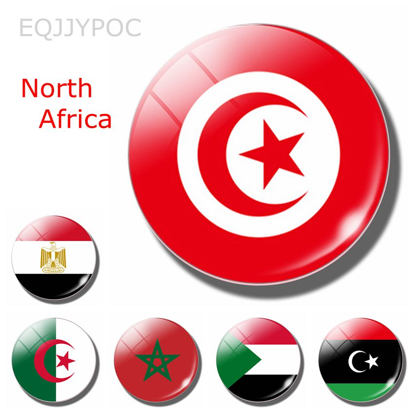 Norte de África Sultán Libia Marruecos 30MM imán de nevera Bandera de Túnez Tunis Mahdia Gafsa cúpula de cristal imanes para la nevera