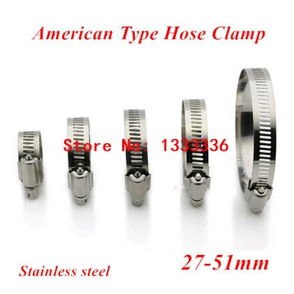 20 piezas 27-51mm (27mm 51mm) de tipo americano tornillo banda abrazaderas con tornillo para manguera 304 de acero inoxidable Aro para manguera de Clips