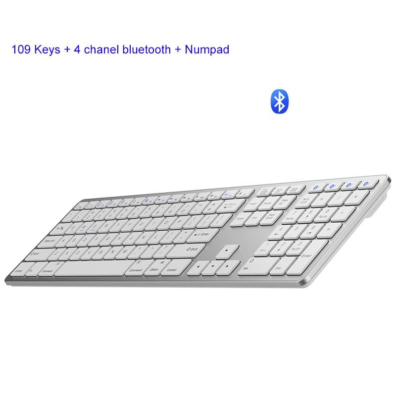 حجم كامل 109 مفاتيح لوحة المفاتيح اللاسلكية أندرويد الكمبيوتر بلوتوث 3.0 لوحات المفاتيح اللاسلكية مع الدعم الرقمي لنظام التشغيل أندرويد أبل وي...