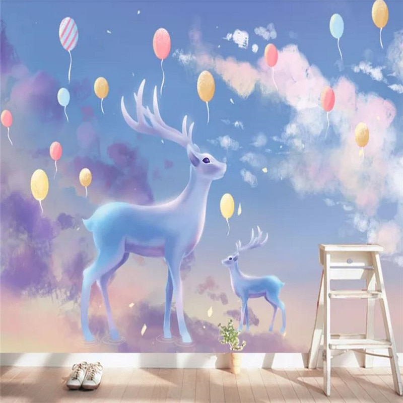 Пользовательские обои скандинавские ручная роспись мультфильм животное лось Детская комната фон украшение стены водонепроницаемый матер...