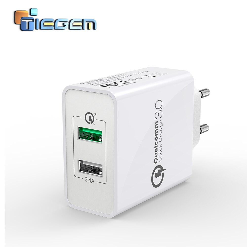 TIEGEM-شاحن USB مزدوج ، 3.0 2.4A QC 3.0 30W ، محول شحن سريع ، قابس الاتحاد الأوروبي والولايات المتحدة ، شاحن هاتف خلوي ، متوافق مع Samsung Huawei