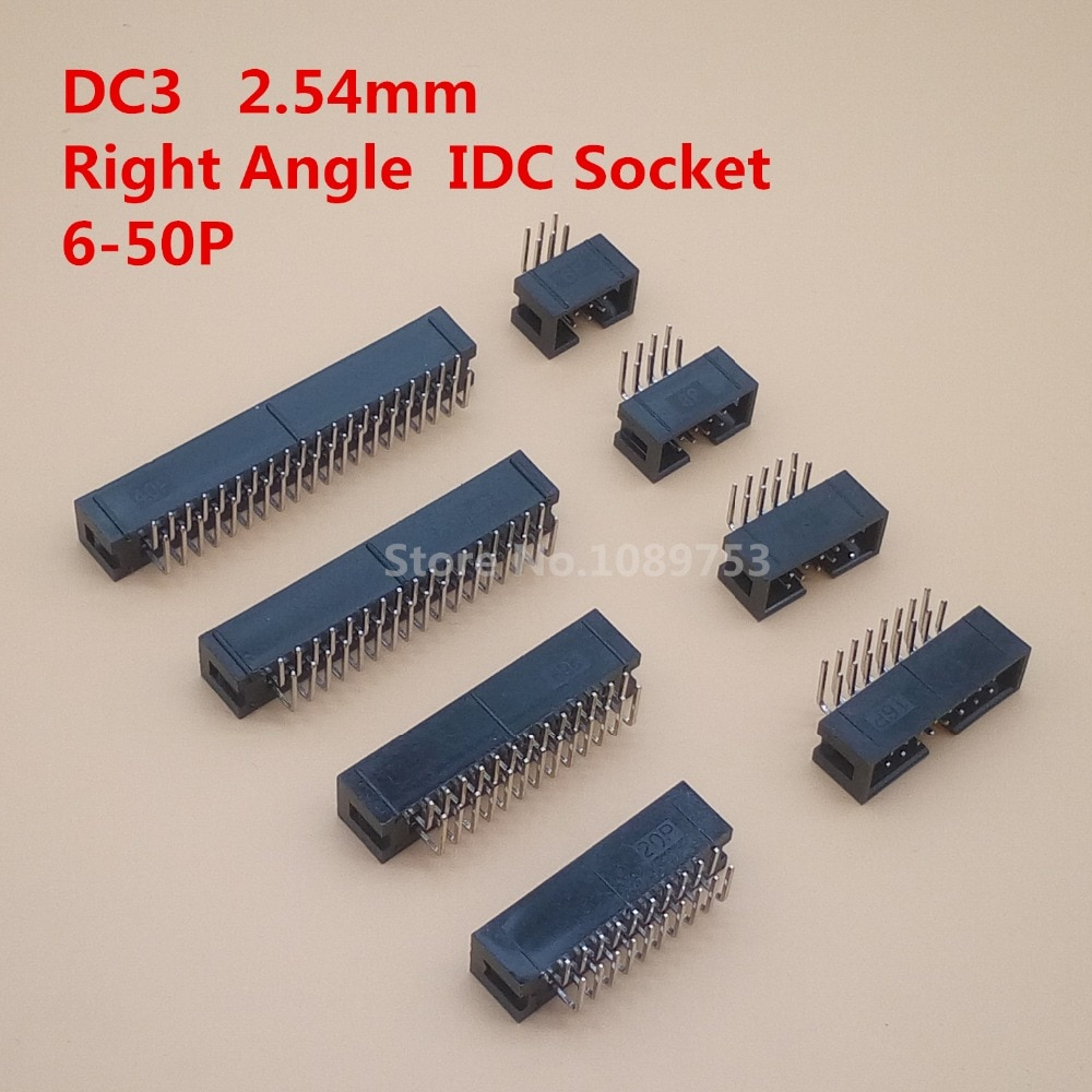 20 STKS DC3 6 P 8 P 10 P 14 P 16 P 20 P 26 P 30 P 34 P 40 P 50 P 2.54mm Socket Header Connector ISP Mannelijke Dubbele spaced Haakse IDC JTAG