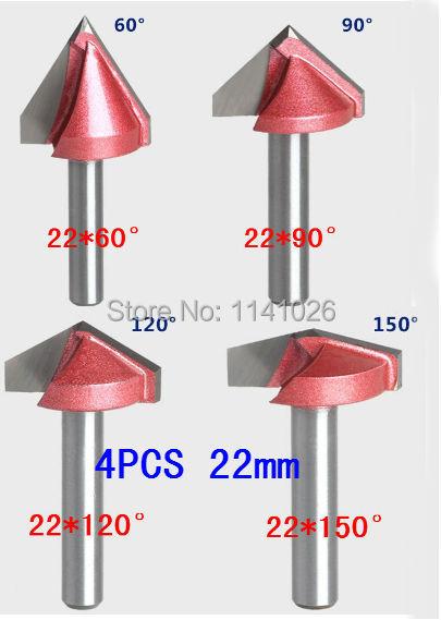 4 STKS (60/90/120/150 Graden) Shank-6mm Width-22mm, CNC Graveren 3D V Groove Router Bit Houtbewerking Cutter Tool Sets