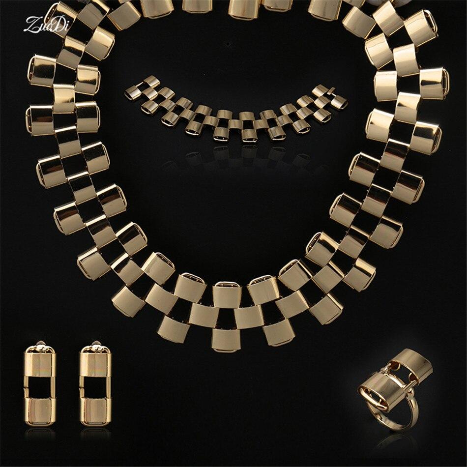 ZuoDi 2018 conjunto de joyería de declaración marca nigeriana boda Mujer Accesorios conjunto de joyería Dubai oro-colorido conjunto de joyería al por mayor