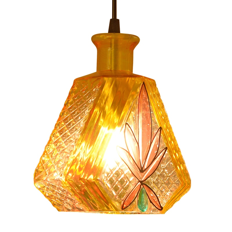 North American style creative bar bar chandelier qing bar casual bar personality LED single-head retro colored glass chandelier creative personality american restaurant chandelier lamp romantic cafe bar iron chandelier retro wind industry zzp727pp