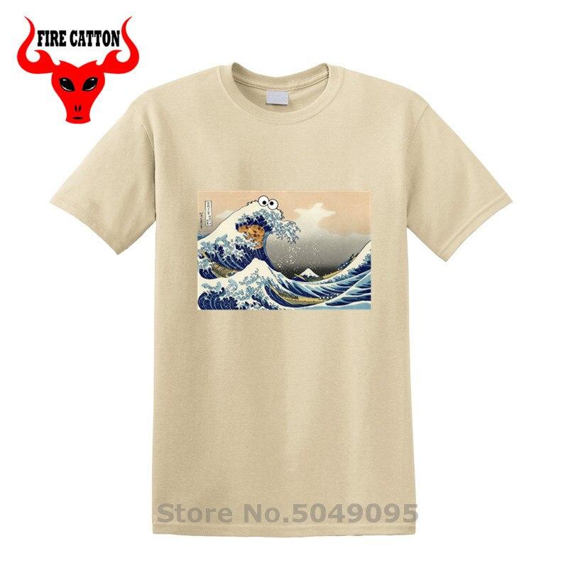 Gran ola de Kanagawa Vintage de monstruo de galletas, camisetas, camisetas de calle de sésamo, monstruo de galletas, camisetas de disfraz de monstruo de galletas